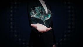 De onderneemster wat betreft vorm van Hersenen verbindt digitale lijnen, die kunstmatige intelligentie uitbreiden stock video