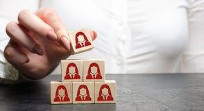 De onderneemster zet houten blokken met het beeld van vrouwelijke werknemers Het concept beheer in een team Onderneemster en een  stock foto's