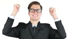 De ondernemer is tevreden met zijn winst, inkomen, inkomens, die succes toejuichen stock footage