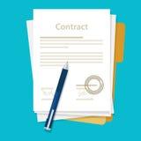De ondertekende document pen van de het pictogramovereenkomst van het overeenkomstencontract op bureau vlakke bedrijfsillustratie Stock Afbeeldingen