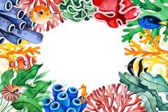 De onderwatergrens van het schepselenkader met multicolored koralen, zeewieren, vissen, seahorse vector illustratie