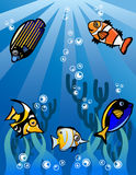 De onderwaterillustratie van het wereldbeeldverhaal Stock Foto's
