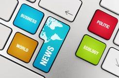 De Onderwerpen van het nieuws op de Sleutels van het Toetsenbord Stock Afbeelding