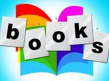 De onderwijsboeken wijst Handboek op Fictie en Tutoring stock illustratie
