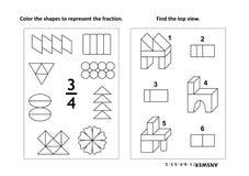 De onderwijspagina van de wiskundeactiviteit met twee raadsels en het kleuren - fracties, ruimtevaardigheden Stock Afbeeldingen