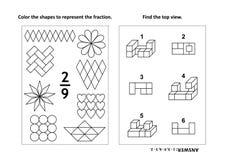 De onderwijspagina van de wiskundeactiviteit met twee raadsels en het kleuren - fracties, ruimtevaardigheden Stock Foto's