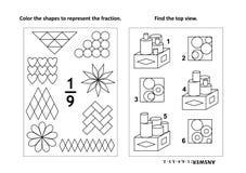 De onderwijspagina van de wiskundeactiviteit met twee raadsels en het kleuren - fracties, ruimtevaardigheden Royalty-vrije Stock Foto's
