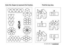 De onderwijspagina van de wiskundeactiviteit met twee raadsels en het kleuren - fracties, ruimtevaardigheden Royalty-vrije Stock Afbeelding