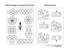 De onderwijspagina van de wiskundeactiviteit met twee raadsels en het kleuren - fracties, ruimtevaardigheden Stock Fotografie