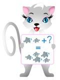 De onderwijsspelen voor kinderen, illustreren wiskundige voorbereiding, met vissen royalty-vrije illustratie