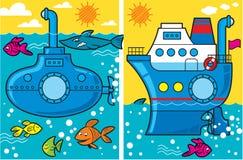 De onderzeeër en het schip van het beeldverhaal Royalty-vrije Stock Fotografie