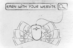 De onderzoeksbar met muis & contant geld, met tekst verdient met uw website Stock Fotografie