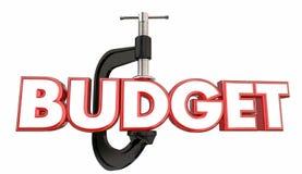 De Ondeugd die van de begrotingsklem Word Besnoeiing drukken vermindert het Besteden Stock Afbeeldingen