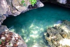 De ondiepe zeewateroppervlakte glanst door de bodem met steen en rots stock foto