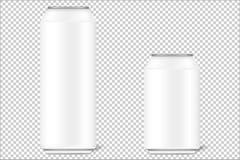 De onechte omhoog 3d blikken van 330 ml en 500 ml voor bier, alcohol, frisdranken, carbonateerden dranken, kola, energiedranken m vector illustratie