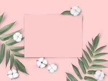 De onechte omhoog lege roze document spatie met katoen bloeit en gaat op pastelkleur roze achtergrond weg royalty-vrije stock afbeelding