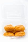 De onechte zaden van het hefboomfruit in duidelijke plastic doosverticaal 3 Royalty-vrije Stock Afbeelding
