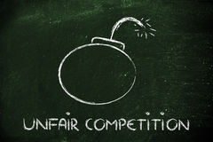 De oneerlijke concurrentiebedreiging, grappige bommetafoor Stock Afbeelding