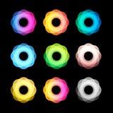 De ongebruikelijke abstracte geometrische reeks van het vormen vectorembleem Cirkel, veelhoekige kleurrijke logotypesinzameling o Royalty-vrije Stock Foto