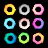 De ongebruikelijke abstracte geometrische reeks van het vormen vectorembleem Cirkel, veelhoekige kleurrijke logotypesinzameling o Royalty-vrije Stock Foto's