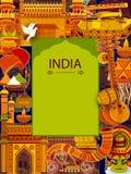 De ongelooflijke achtergrond die van India Indische kleurrijke cultuur en godsdienst afschilderen vector illustratie