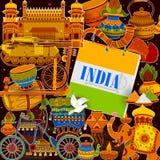 De ongelooflijke achtergrond die van India Indische kleurrijke cultuur en godsdienst afschilderen royalty-vrije illustratie