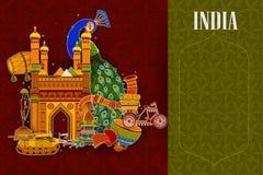 De ongelooflijke achtergrond die van India Indische kleurrijke cultuur en godsdienst afschilderen stock illustratie