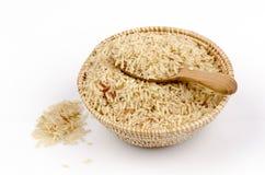 De ongepelde rijst, niet gepolijste rijst, volwitte rijsten maakte gebrekkig schoon, halve volwitte rijsten ((Oryza sativa L.) stock fotografie