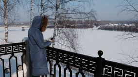 De onherkenbare vrouw in blauw benedenjasje schrijft overseinen in haar cellphone in de winterpark stock video