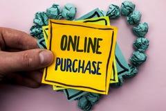 De Online Aankoop van de handschrifttekst De conceptenbetekenis koopt dingen op het net gaat winkelend die zonder huis op Kleveri royalty-vrije stock foto