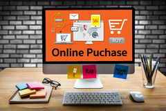 De online Aankoop voegt aan Kar toe de Online Ordeopslag winkel online koopt stock foto's