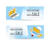De online banner van de de cursussenverkoop van de onderwijscomputer Stock Fotografie