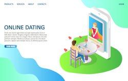 De online daterende vectorontwerpsjabloon van het websitelandingspagina vector illustratie