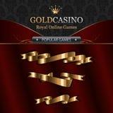 De online elementen van het casinomalplaatje met linten Stock Afbeeldingen