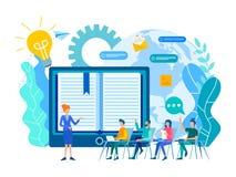 De online het leren lessen, de webinar en online onderwijscursussen, de leraar onderwijzen een groep online studenten royalty-vrije illustratie