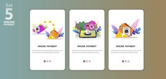 De online illustratie app van het betalingsconcept templete stock illustratie