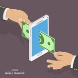 De online isometrische vectorillustratie van de geldoverdracht vector illustratie