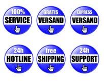 De online Knopen van de Winkel Stock Afbeeldingen