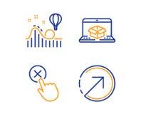 De online levering, Weigering klikt en geplaatste Achtbaanpictogrammen Het teken van de richting Vector stock illustratie