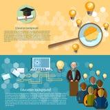 De online onderwijsuniversiteit spreekt studentenbanners Royalty-vrije Stock Foto