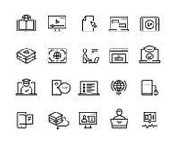 De online pictogrammen van de onderwijslijn E-lerende computertraining, online ver onderwijs, laptop leerprogramma Onderwijsvideo vector illustratie