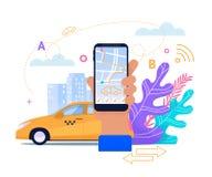 De online Taxi Mobiele Dienst Vlakke toepassing vector illustratie