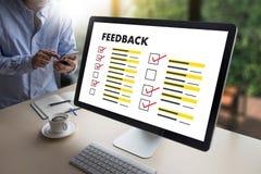 De online tijd van de Overzichtenevaluatie voor de Beoordeling van de overzichtsinspectie stock afbeeldingen