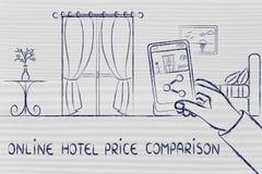 De online vergelijking van de hotelprijs, die de foto van een hotelroo delen Royalty-vrije Stock Foto