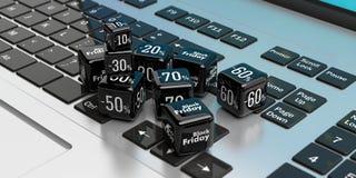De online verkoop van Black Friday Zwarte verkoopkubussen op laptop 3D Illustratie Stock Afbeelding