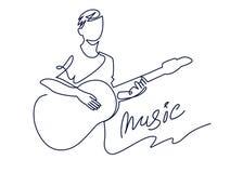 De ononderbroken lijntekening van musicus speelt akoestische gitaar vectordieillustratie op wit wordt geïsoleerd Muzikaal concept vector illustratie