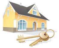 De onroerende goederen sleutels van het huis, makelaardij Stock Foto's