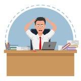 De ontbroken en beklemtoonde zakenman is vermoeid om te werken vector illustratie