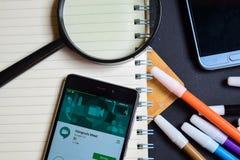 De ontmoetingsplaatsen ontmoeten App op Smartphone-het scherm royalty-vrije stock foto's