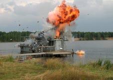 De ontploffing op het schip stock afbeelding
